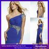 One Shoulder Side Slit Cap Sleeve Rhinestone Long Elegant Chiffon Royal Blue Evening Prom Dresses Long Evening Gowns In India