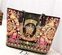 2014 New Trend Designer Large Indian Style Printing Pu Leather Handbag Tote Bag For Ladies Women Girl