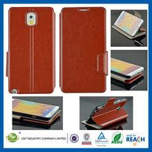 C&T 2014 Brown wallet flip leather case galaxy note 3