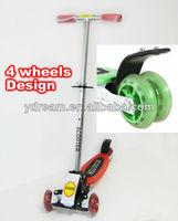 kick powered scooter with folding 3 wheels mini kick scooter