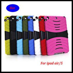 hard soft heavy duty plastic hybrid case for ipad air / ipad 5