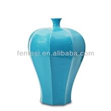 2014 light blue glazed ceramic flower vase unique style