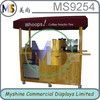 Wooden mobile food cart kiosk with bubble tea kiosk,ice cream machine