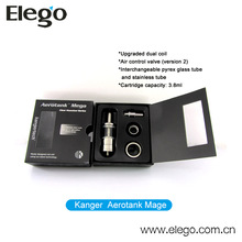 Kanger new cartomizer airflow control dual coil Aerotank Mega with Pyrex Glass