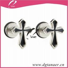fashion men jewelry black cross stud earrings