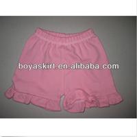 2014 latest hot sale girls petti solid ruffle shorts shorts for summer kids pettishorts with ruffles 100% cotton cheap shorts