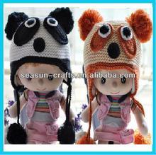 Custom winter crochet Children panda animal shaped hats