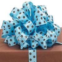 """5/8"""" Blue satin print ribbon,polka dots print packing ribbon"""