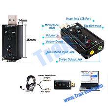 External Virtual 7.1 Channel 3D Sound Card USB Driver Audio Sound Adapter