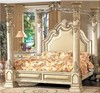 Hand carved solid birch wood antique white color Luxury home bedroom furniture set, canopy king bed