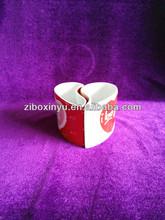 ZIBO XINYU XY-102 Heart Shaped Special Design Ceramic Mug for Lovers