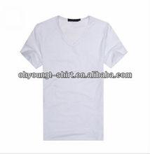 bulk cheap price overseas plain white men blank t-shirts/Wholesale Custom Fashion Blank T-shirt V-neck/high quality bulk t-shirt