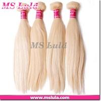 100% human hair silky soft European hair color 613 blonde human hair weave