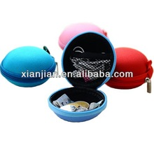 Canvas Earphone Storage Bag, Candy Ladies Mini Portable Round Coins and Keys Clutch Bag, Headphone Case (BLWS1039)