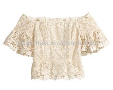 fashion women's Off-the-shoulder top t shirt in lace made from organic cotton with short trumpet sleeves, chiffion lining