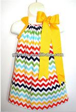 Children girls Rainbow chevron pillowcase dress kids classic design cheap cotton zig zag dress