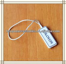 Fashionable elastic cord plastic jewelry tags