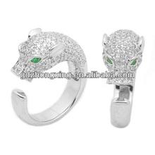 Royal rhodium adjustable unisex fashion panther ring