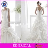 XL754 two shoulders deep v neckline backless lace floor length puffy skirt beautiful pakistani wedding dresses