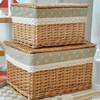 Environmental handicraft rectangular large storage basket with handmade