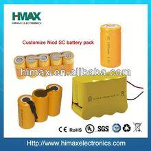 rechargeable 7.2v 1800mah sc ni-cd battery pack