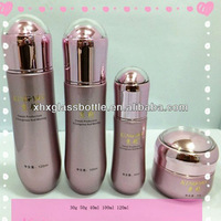 Cosmetic bowling shape bottle glass with cream jar and lotion bottle