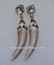 denti di squalo 2014 moda orecchino di cristallo orecchino penzolare