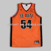 Wholesale custom team 100%polyester flaring big-mesh fabric orange basketball uniforms