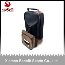 Stylish Leather Golf Shoe Bag with Mesh & Tee Holder