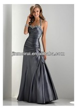 Mermaid Gray Halter A line Sleeveless Floor length Pleat Bow Taffeta Prom dress