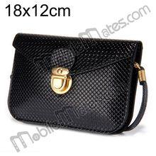 2014 Hottest Wholesale 18x12cm Shoulder Bag Grid Leather Pouch Case Bag for iPhone, Samsung, HTC, Sony etc