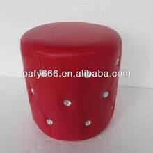 2014hotsale PU round footstool leather ottoman pouf with diamond