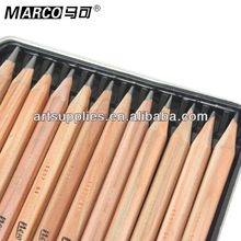 MARCO 7001 wooden body standard sketch pencil, natural wood pencil, portable drawing pencil with box