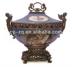 Middle East classical Home decoration High Quality Sevre style porcelain & bronze center piece ,porcelain Jar, Porcelain bowl
