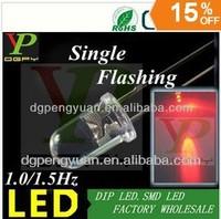 (TOP LED Supplier)1.5Hz Red Blinking led diode single color flashing led 3.0-3.5V