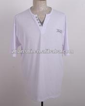 2014 Popular Blank White V-neck T-shirt For Young Men
