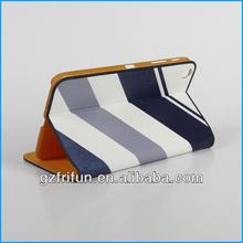 blue color stripe print smart 8'' tablet pc leather case