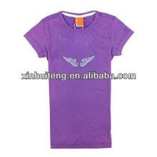 purple sublimation crewneck fashion high quality 100% polyester bulk custom wholesale top brand t-shirts for girls