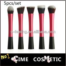 Pro wine-colored Powder Blush Angled+ Round+Flat+Fiber+Pointy Foundation Brush Makeup 5pcs/set