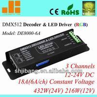 DMX controller, DMX RGB driver, DMX512 driver, 3channels/12V-24VDC/18A/432W pn:DE8000-6A