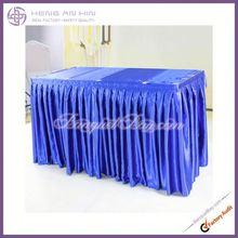 Rectangle blue satin table skirt for wedding china manufacturer supplier wholesaler