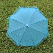 2014 Hot sale. high quality Teal Blue Flower Girls Kids Parasol Wedding Bridal Party Sun Umbrella Decorative Umbrella