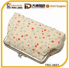 Environmental polka dots printing natural seeds cotton cosmetic bag with pull fastener