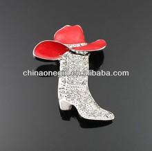 Rhinestone Cowboy Boot & Hat Fashion Brooch