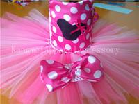 2014 hot sale pink minni mouse tutu dresses set with headband china supplier