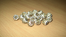Cubic zircon white & golden loose beads for jewelry