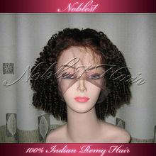 Tangle free human hair natural kinky curl hair wig