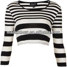 custom design women's white and black striped long sleeve crop tee