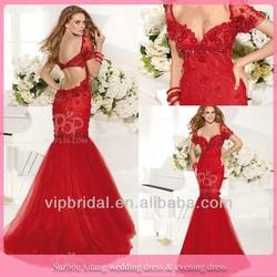 New Elegant Cap Sleeve Open Back Mermaid Flower Beaded Red 2014 Turkish Evening Dress