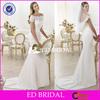 W1145 Two Piece Sweetheart Chiffon Sweep Train With Lace Bolero Jacket Wedding Dress